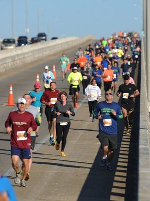 Runners participate in Saturday's Double Bridge Run.