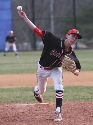 Rye's George Kirby pitches at John Jay during a baseball game on April 16. Rye won, 4-3.