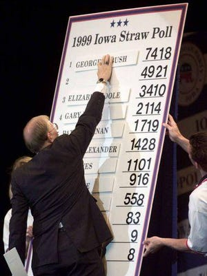 Iowa State Auditor Richard Johnson posted the results of the Iowa Straw Poll in Ames, Iowa, Aug. 14, 1999. Texas Gov. George W. Bush finished first, Steve Forbes second, and Elizabeth Dole third.