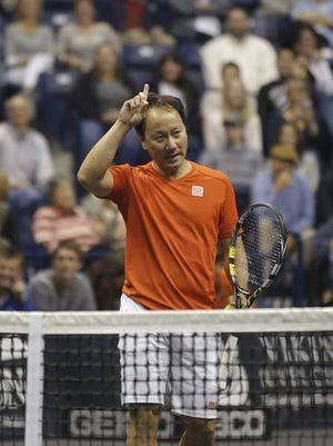 Michael Chang was at Xavier's Cintas Center April 30 to play in the PowerShares Series Champions Showdown with John McEnroe, Andy Roddick and James Blake.