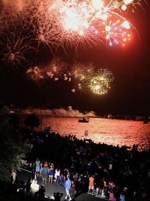 File photo: The Sertoma Fireworks underway as seen from the Lee House along Bayfront Parkway over Pensacola Bay.