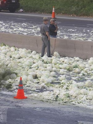 Scene from cabbage truck crash on Monday