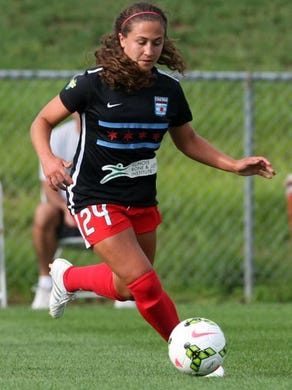 Chicago Red Stars player Danielle Colaprico dribbles the ball against the Sky Blue FC