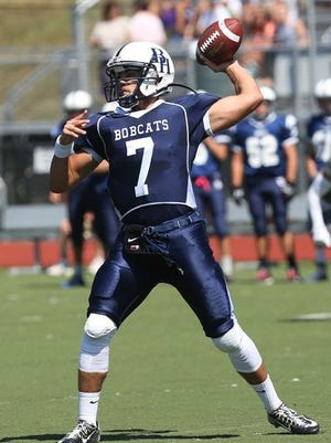 Byram Hills quarterback Lou Filippelli, who broke the Section 1 single-season passing record in a 45-33 loss at Harrison High School on Oct. 30, 2015.