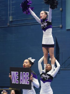 New Rochelle competes during the 66th Westchester County Cheerleading Invitational at the Westchester County Center Nov. 18, 2014.