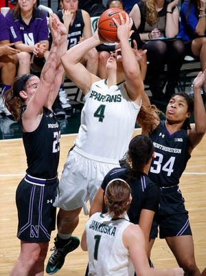 Jasmine Hines (4) is averaging 14.8 points in Big Ten play for the Spartans. She scored a career-high 24 points during Wednesday's loss at Indiana.
