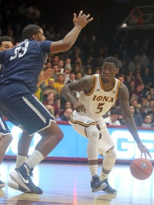Iona's A.J. English pictured during Iona's 110-102 loss to Monmouth in a MAAC conference game at Iona College Jan. 15, 2016.