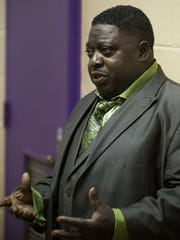 Terance Dawson, who is running for County Commission District 2, speaks during a campaign event in Montgomery, Ala. on Thursday evening February 11, 2016.