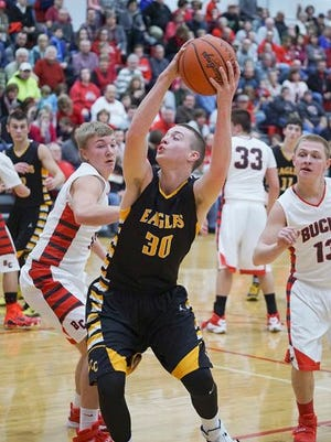 Colonel Crawford's Harley Shaum looks to score against Buckeye Central earlier this season. The Eagles pay South Central for a sectional title on Friday