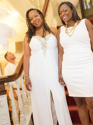 Tomicka Madison and Ebony Miller at Rochester's White Party