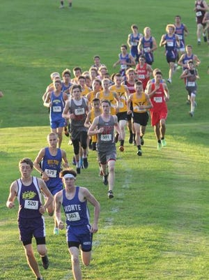 The start of the boys' race at the English Valleys Invitational on Tuesday, Sept. 13.