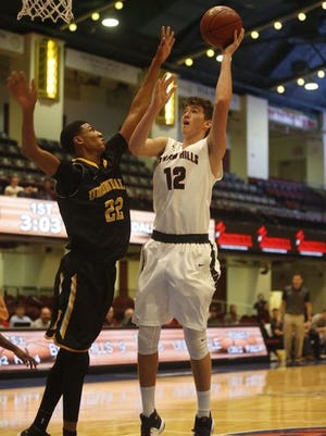 Byram Hills sophomore Ben Leff shoots during his team's 61-47 victory over Uniondale in the consolation game of the Slam Dunk Tournament at the County Center on Dec. 29, 2016.