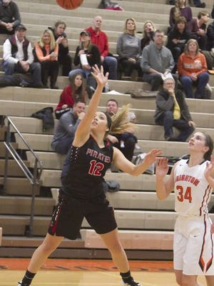 Pinckney's Jacqulyn Kolnitys scored eight points in the Pirates' loss to Ann Arbor Pioneer in the district semifinals.