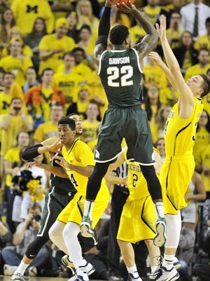Branden Dawson led a dominant inside performance with 23 points and 13 rebounds against a helpless Michigan defense.