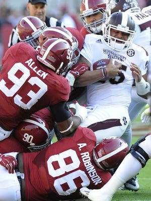 Alabama made it rough on Dak Prescott in Saturday's 25-20 win over Mississippi State.