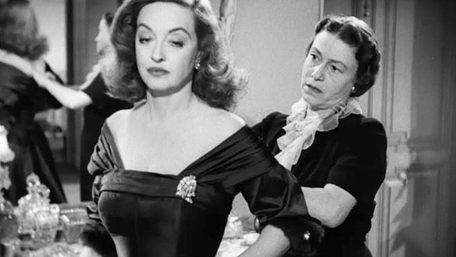 """Bette Davis, left, and the great character actress Thelma Ritter click together perfectly in the Oscar-winning backstage drama """"All About Eve"""" (1950), which is back on the big screen at 2 and 7 p.m. Sunday at The Movies at Governor's Square. """"All About Eve"""" was nominated for 14 Academy Awards, just like """"La La Land,"""" but it was more of a hit with voters and and audiences alike. Anne Baxter also stars as a duplicitous young actress who will do anything to become a star on Broadway. With its rich performances and sharp dialogue, movies don't get much better than this one. There are also encore screenings on Wednesday. It's not rated. Visit www.fandango.com."""
