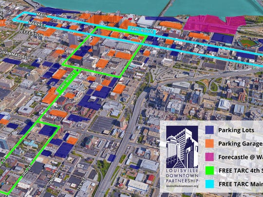 Downtown parking map for Forecastle