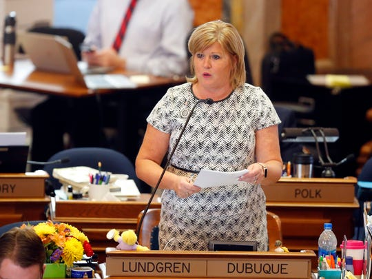 Representative Shannon Lundgren of Dubuque speaks on the floor of the Iowa House Tuesday, May 1, 2018.