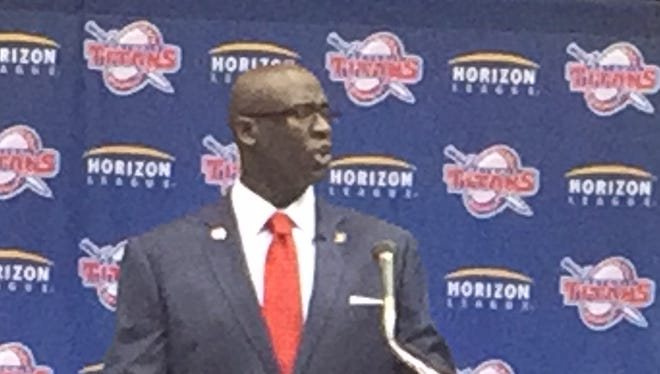 New Detroit Titans basketball coach Bacari Alexander speaks at his introductory news conference Friday, April 22, 2016, in Detroit.