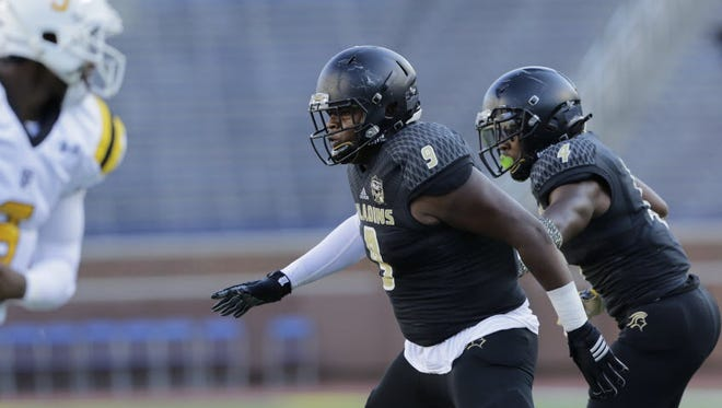 Paramus Catholic senior DL Corey Bolds chases down a ball carrier in a game early this season.