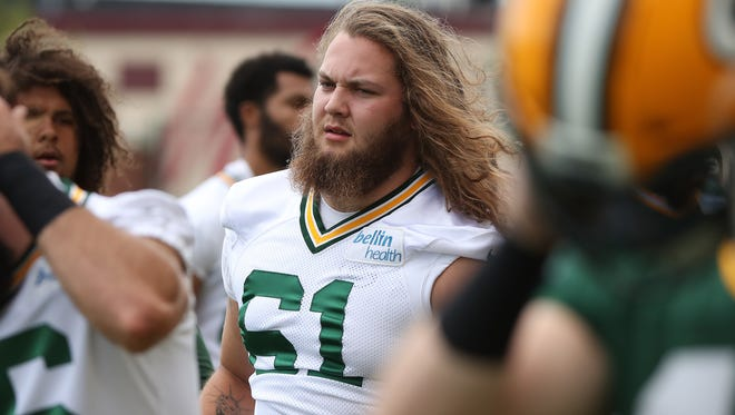 Green Bay Packers rookie Cole Madison (61) during Organized Team Activities at Ray Nitschke Field Thursday, May 31, 2018 in in Ashwaubenon, Wis.