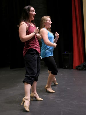 """The cast of The Stage Door's production of """"The Producers"""" rehearses Wednesday at the Electric Theater in St. George."""