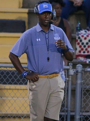 Washington High head coach Charlie Ward during the game against the Milton Panthers at Milton High School on Friday, August 25, 2017. Washington beat Milton 45-26.