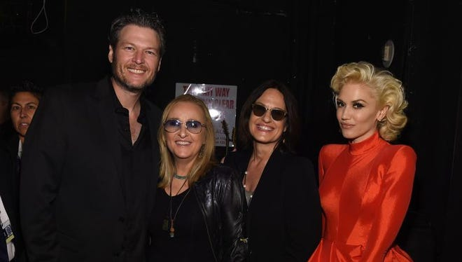 Musicians Blake Shelton and Melissa Etheridge, actress Linda Wallem, and singer Gwen Stefani attend the 2016 Pre-GRAMMY Gala and Salute to Industry Icons honoring Irving Azoff at The Beverly Hilton Hotel on February 14, 2016 in Beverly Hills, California.