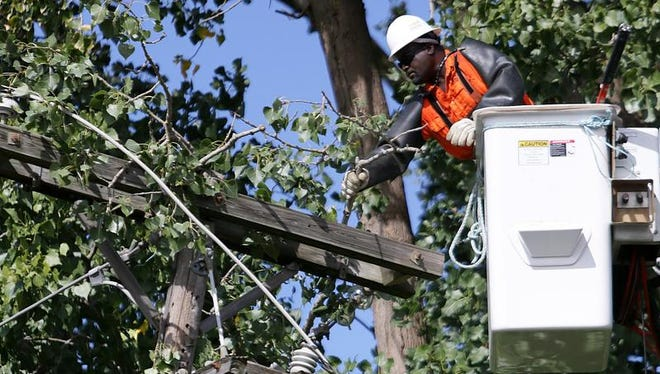 A worker cuts tree limbs near power lines in 2013 after strong storms.