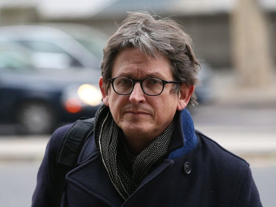"Alan Rusbridger, editor of ""The Guardian,"" arrives"