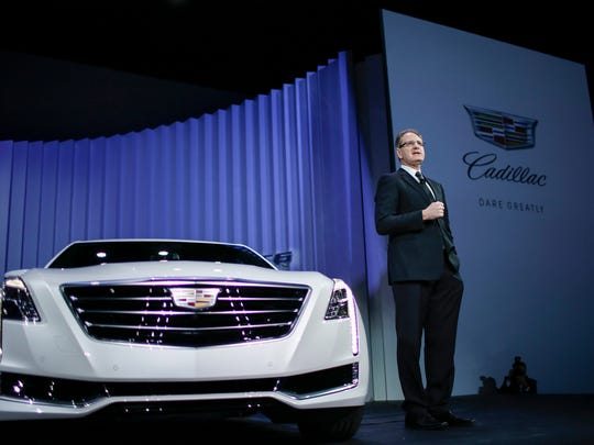 Cadillac President Johan de Nysschen speaks to guests about the new flagship 2016 Cadillac CT6 after it was unveiled during the New York International Auto Show at the Navy Yard in the Duggal Greenhouse in Brooklyn today.