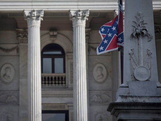The Confederate flag is seen here at the South Carolina