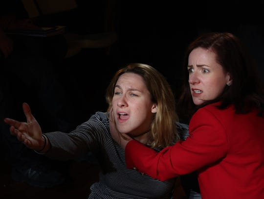 Caitlin Carbone, left, was cast a lesiban Hamlet and