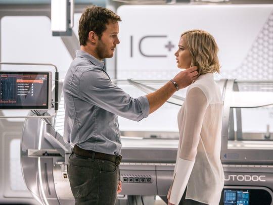 In the infirmary, Jim (Chris Pratt) and Aurora (Jennifer