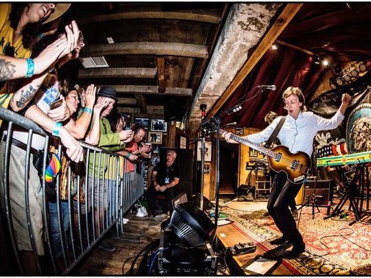 Sir Paul McCartney performing at his sold-out show last October at Pappy and Harriet's Pioneertown Palace.