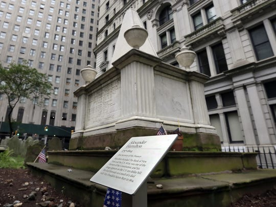 The grave of Alexander Hamilton in the cemetery of Trinity Church in New York's Financial District.