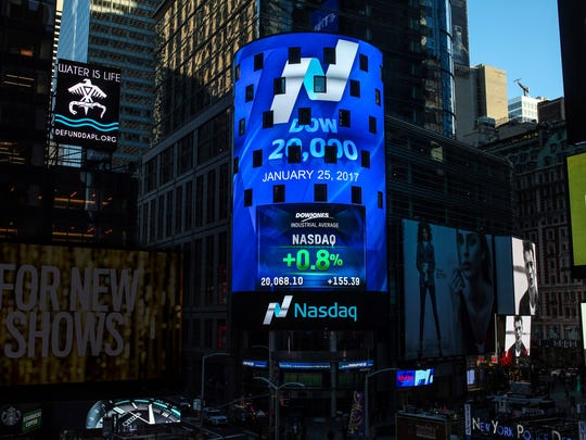The display at Nasdaq Tower in New York's Times Square shows that the Dow Jones industrial average closed above the 20,000-point mark for the first time on Wednesday, Jan. 25, 2017.