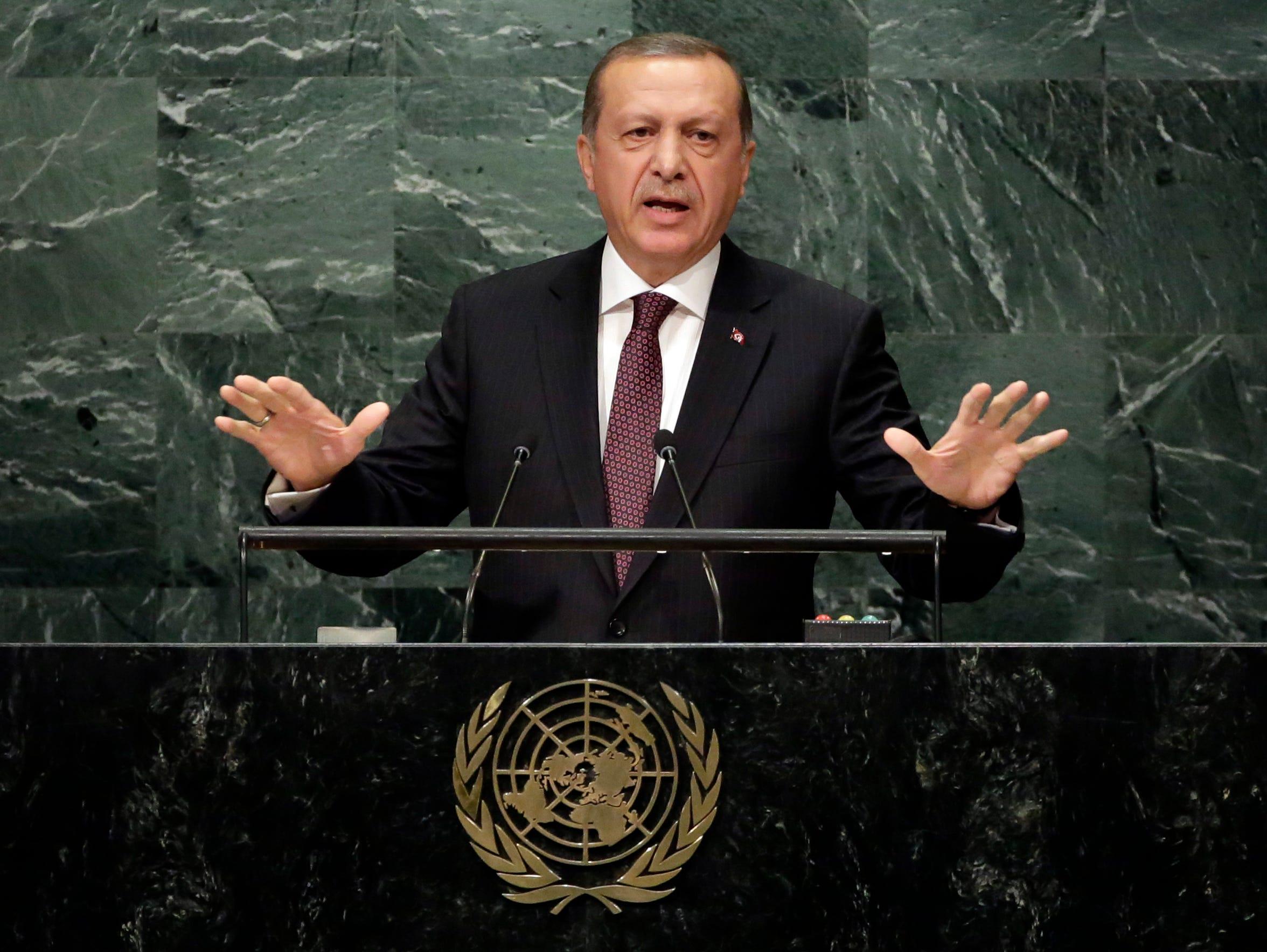 Turkey's President Recep Tayyip Erdogan addresses the