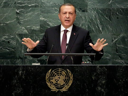 Turkey's President Recep Tayyip Erdogan addresses the 71st session of the United Nations General Assembly, at U.N. headquarters, Tuesday, Sept. 20, 2016.