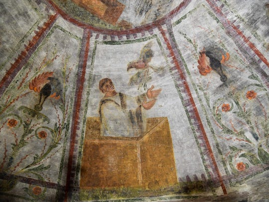 "A detail of the restored fresco of ""dei Fornai"" (bakers)"
