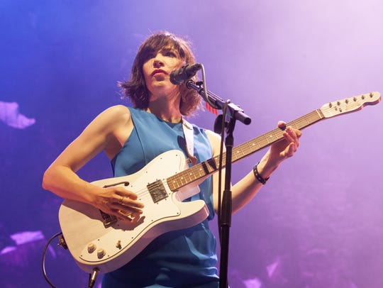 Carrie Brownstein of Sleater-Kinney performs at the 2015 Pitchfork Music Festival.