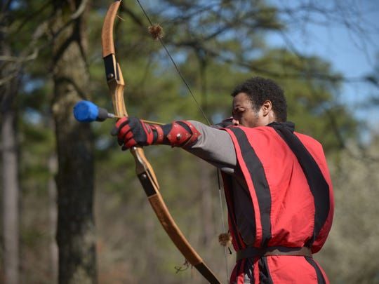 Davon Lattimore works on his archery skills as Vulpes Venatus holds its first practice of the year on March 3, 2018, at Bowie Nature Park in Fairview. Vulpes Venatus is the Fairview chapter of Belegarth, a family-friendly, medieval-themed sport in which participants fight with foam-padded weaponry from the Middle Ages.