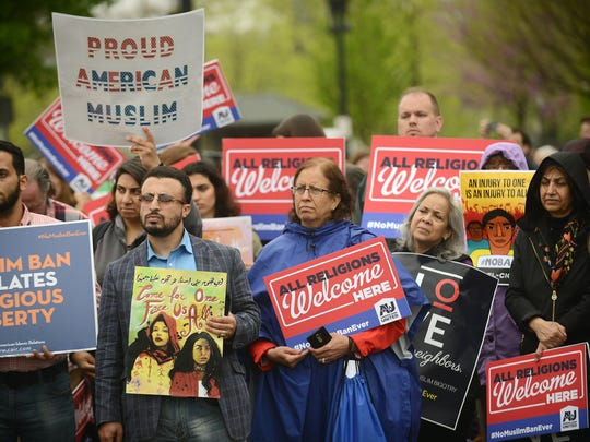 Only one side of the argument over President Trump's travel ban was well represented outside court Wednesday.