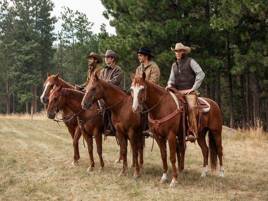 """Dave Annable, left, Wes Bentley, Luke Grimes and Kevin Costner play members of the Dutton ranching family in Paramount Network's """"Yellowstone."""""""