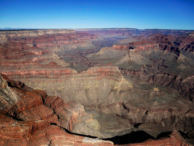 The Grand Canyon National Park is covered in the morning