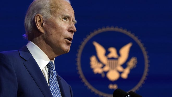 President-elect Joe Biden speaks at The Queen theater, Monday, Nov. 9, 2020, in Wilmington, Del.