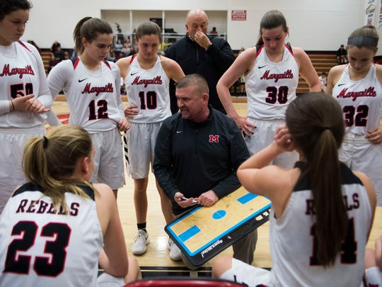 Maryville girls basketball head coach Scott West coaches players in a huddle during a high school basketball game between Maryville and Bearden at Maryville High School Tuesday, Feb. 6, 2018.