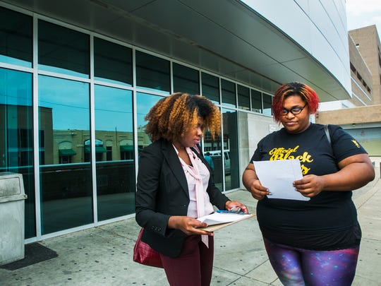 "May 11, 2017 - Erica Perry (left), chapter spokesperson, Official Black Lives Matter Memphis Chapter, and Ashley Caldwell, organizer, Official Black Lives Matter Memphis Chapter, stand outside the Shelby County Jail as they prepare to bail out a mother for their Mamas Day Bail Out Campaign on Thursday. The organization is participating in a national effort to bail out mother's who would spend Mother's Day in jail.   ""Today we're out bailing mothers out of jail so that they can be with their family for Mother's Day. We're also drawing attention to the issues with the money bail system,"" Perry said, whose group has raised close to $8,000 thus far.   On Tuesday, OBLMMC bailed out one person and two more people on Thursday. On Friday, the group hopes to bail out approximately twenty people.  ""This is one of the actions as part of our bail reform campaign. So what we want people to know is that money bail separates families. It prevents people from being with their family members, it prevents mothers from teaching and being with their children, from being caretakers; it prevents people from going to work and going to school - simply because they don't have the money to bail themselves out. And so that's a problem,"" Perry said. ""What we want to do is get people home for Mother's Day and then also have a conversation about how do we reform bail. How do we abolish the money bail system and what can we replace it with? So that's what we're talking about today and that's why we're out.""   For more information, visit https://www.urbanfundr.com/projects/official-black-lives-matter-memphis-mamas-day-bail-out-campaign/"