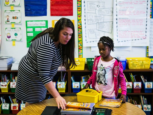 """June 20, 2017 - Victoria Mosby, 7, watches Margaret Kemp, a first grade optional teacher at Downtown Elementary School, as Kemp prepares her students for a reading lesson during the Summer Learning Academy on Tuesday. The free academy, which runs from June 12 - July 21, helps students retain information they've learned from the previous school year. """"I think there's a significant regression through an eight-week period in the summer if the student is not practicing the skills that they've learned the year before,"""" Kemp said. """"This program offers the opportunity for students to make a smoother transition into the next grade."""" Downtown Elementary, with 290 students, is one of 26 sites hosting the academy in Shelby County. School supplies are provided and students are able to take weekly field trips."""