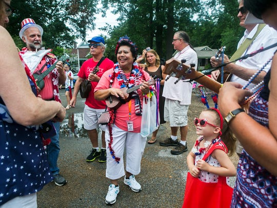 July 4, 2017 - Amelia Callicott, center, with the Memphis